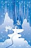 Christmas sceny z północnej zamku w górach. | Stock Vector Graphics