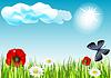 Feld mit Schmetterlingen und Blumen | Stock Vektrografik