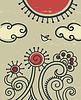 Cartoon Hintergrund mit Blumen und Vogel