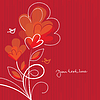 roter Hintergrund mit abstrakten Herzen