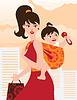 Aktive Mutter mit Baby im Tragetuch