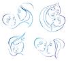 Matka z dzieckiem. Zestaw liniowej sylwetka s | Stock Vector Graphics