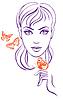 Piękna dziewczyna z motylami | Stock Vector Graphics