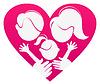 Sign-Liebe Familie, abstrakte Herzen mit der Familie