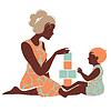 Schöne Silhouette von Mutter und Kind spielen wit