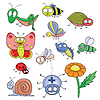 Insekten doodle set