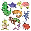 Reptilien und Amphibien doodle icon set