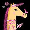 Porträt von Pferd und Vogel