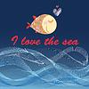 Grafik-Poster mit Fischen und Meereswellen