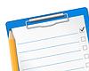 Klemmbrett mit Checkliste