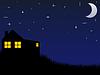 Haus und Nachthimmel mit Sternen und Mond