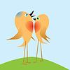 Zwei Birdies singen über Liebe.