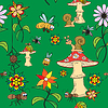 Seamless pattern. Plants, insects, and fungi