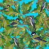 Маленькие птички поют песни. Бесшовные текстуры | Векторный клипарт