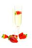 Kieliszek do wina z szampanem i truskawkami | Stock Foto