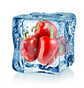 Ice cube and red peppers | Stock Foto