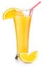 키가 큰 유리에서 오렌지 주스 | Stock Foto