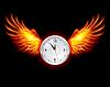Clock mit Feuer Flügel