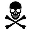 Gekreuzten Knochen und Schädel