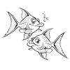 Zwei Zeichnung Cartoon Fisch