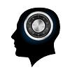 Menschlicher Kopf mit Zahlenschloss