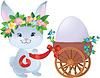 Osterhase mit Ei in kleinen Wagen | Stock Vektrografik