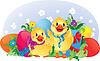 Ostern Grußkarte mit Küken und Eiern