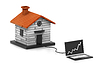 Wachsende home sale. (Online Immobilien-Konzept) | Stock Illustration