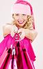 ID 3618068 | Fröhlichen Santa Helfer Mädchen mit Einkaufstüten | Foto mit hoher Auflösung | CLIPARTO