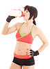 Fitness instructor with protein shake | Stock Foto
