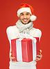 Przystojny mężczyzna w kapeluszu christmas | Stock Foto