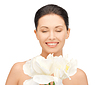 ID 3653696 | 난초 꽃과 함께 사랑스러운 여자 | 높은 해상도 사진 | CLIPARTO