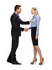 Man and woman shaking their hands | Stock Foto