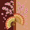Hintergrund mit Lüfter und sakura blossom - Japanese