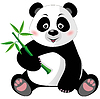 Siedzi Cute panda z bambusa | Stock Vector Graphics