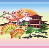 Japanische Hintergrund mit sakura - Japanische Kirsche
