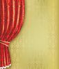 빨간 커튼 및 패턴으로 황금 배경 | Stock Vector Graphics
