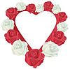 Herz mit weißen und roten Rosen | Stock Vektrografik