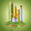 Set Hautpflege Kosmetik mit dekorativen Blättern