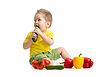 Kid jedzenia zdrowej żywności i patrząc na bok | Stock Foto