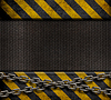 Grunge Metallplatte mit gelben und schwarzen Streifen | Stock Foto
