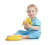 Szczęśliwe dziecko zdrowe jedzenie owoców | Stock Foto
