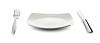 ID 3657388 | Biały talerz kwadratowy, nóż i widelec z sztućce | Foto stockowe wysokiej rozdzielczości | KLIPARTO