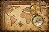 В возрасте карту сокровищ, линейка, веревки и старого компас латунь | Фото