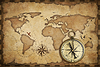 Wieku mosiądz antyczny nawigacyjny kompas i mapa stary dowcip | Stock Foto