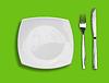 ID 3657548 | Knife, square white plate and fork on green | Foto stockowe wysokiej rozdzielczości | KLIPARTO