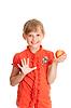 Portret dziewczyny Szkoła jedzenia czerwone jabłko | Stock Foto