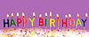 Happy Birthday Kerzen angezündet auf lila Hintergrund | Stock Foto