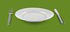 Pusty talerz lub półmisek na jedzenie z widelcem i nożem | Stock Foto