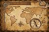 세 보물지도, 눈금자, 로프와 오래 된 황동 COMPAS | Stock Foto